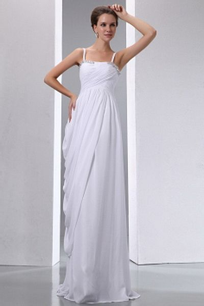 Elegant Spaghetti Strap A-Line Mother Of Bride Dress wr1221 - http://www.weddingrobe.co.uk/elegant-spaghetti-strap-a-line-mother-of-bride-dress-wr1221.html - NECKLINE: Spaghetti Strap. FABRIC: Chiffon. SLEEVE: Sleeveless. COLOR: White. SILHOUETTE: A-Line.