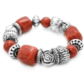 Beautiful Orange And Silver Bracelet For 5 At Www