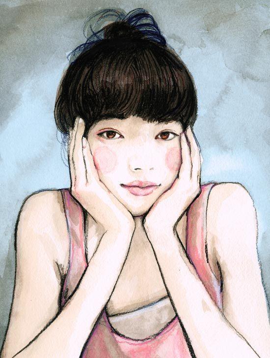 Artist Danny Robert painted portrait of Young Japanese model and Actress Nana Komatsu