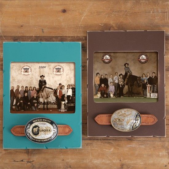 Trophy Buckle Picture Frame...(put buckle on  pieces of old belt and attach to frame)