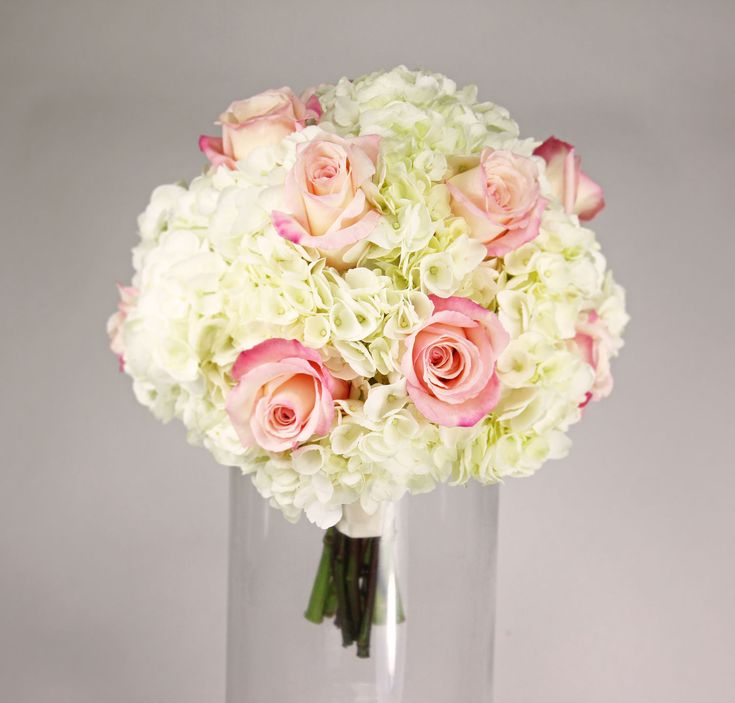 hydrangea roses a simple clutch of white hydrangea with blush pink anna