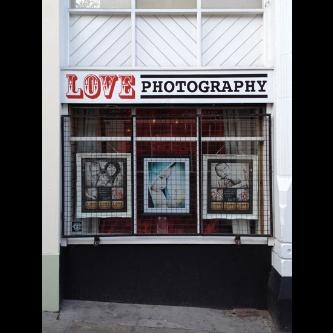 Hand painted shop front signs for LOVE photography in Nottingham