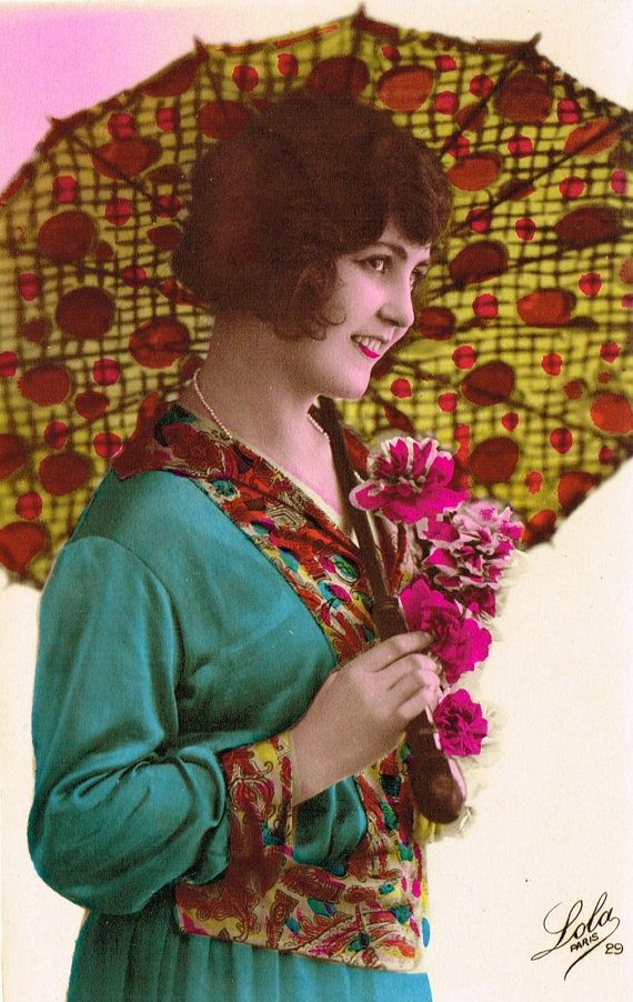 Vintage 1920s Art Deco French Tinted Postcards