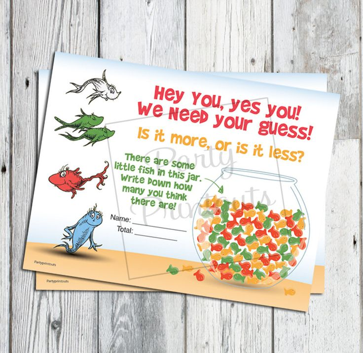 Dr. Seuss Baby Shower Game, Fish Bowl Guess Game ...