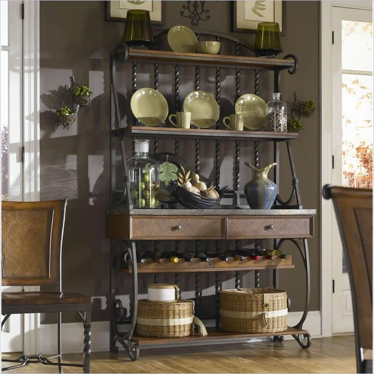 racks bakers contemporary rack style glass bronze hutch in black dining with metal kitchen country shelves shelf