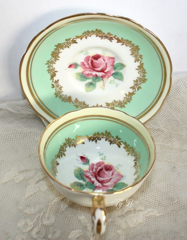 Vintage Paragon Cabinet Bone China Teacup Miniature Rose - this cabinet cup set dates to 1952~1960 (back stamp)