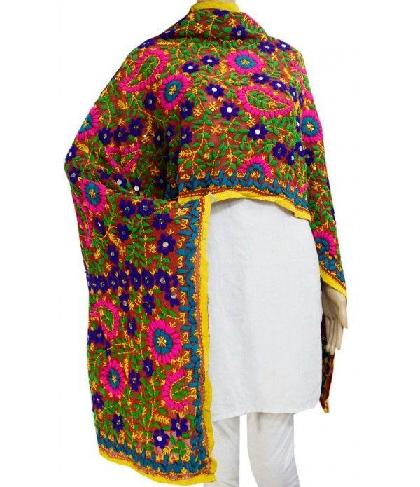 Brown Multi Chiffon Handicraft Phulkari Dupatta