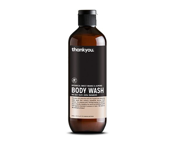 Thankyou 500mL Sweet Orange & Almond Body Wash. Free from parabens, SLS, SLES, EDTA and harsh chemicals (RRP $7.99)