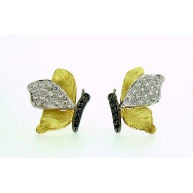 Orecchini farfalla in oro con diamanti bianchi e neri