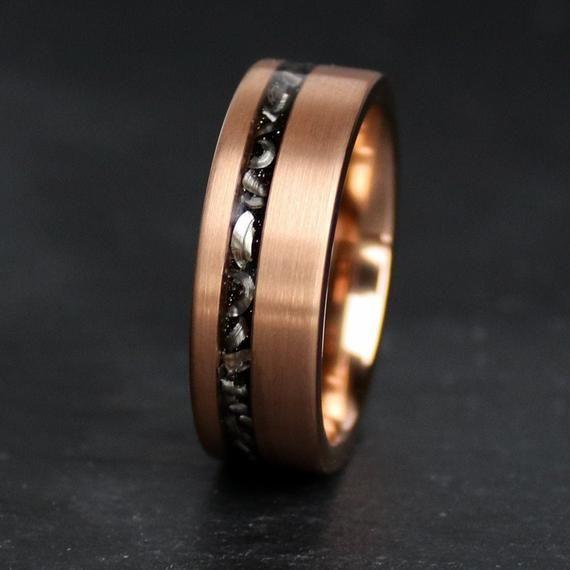 Meteorite Ring 18k Rose Gold Ring Meteorite Wedding Band Etsy In 2021 Mens Meteorite Ring Meteorite Wedding Rings Meteorite Ring