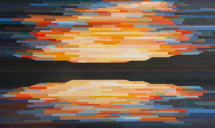 Sunset Oil on Board 36 X 60