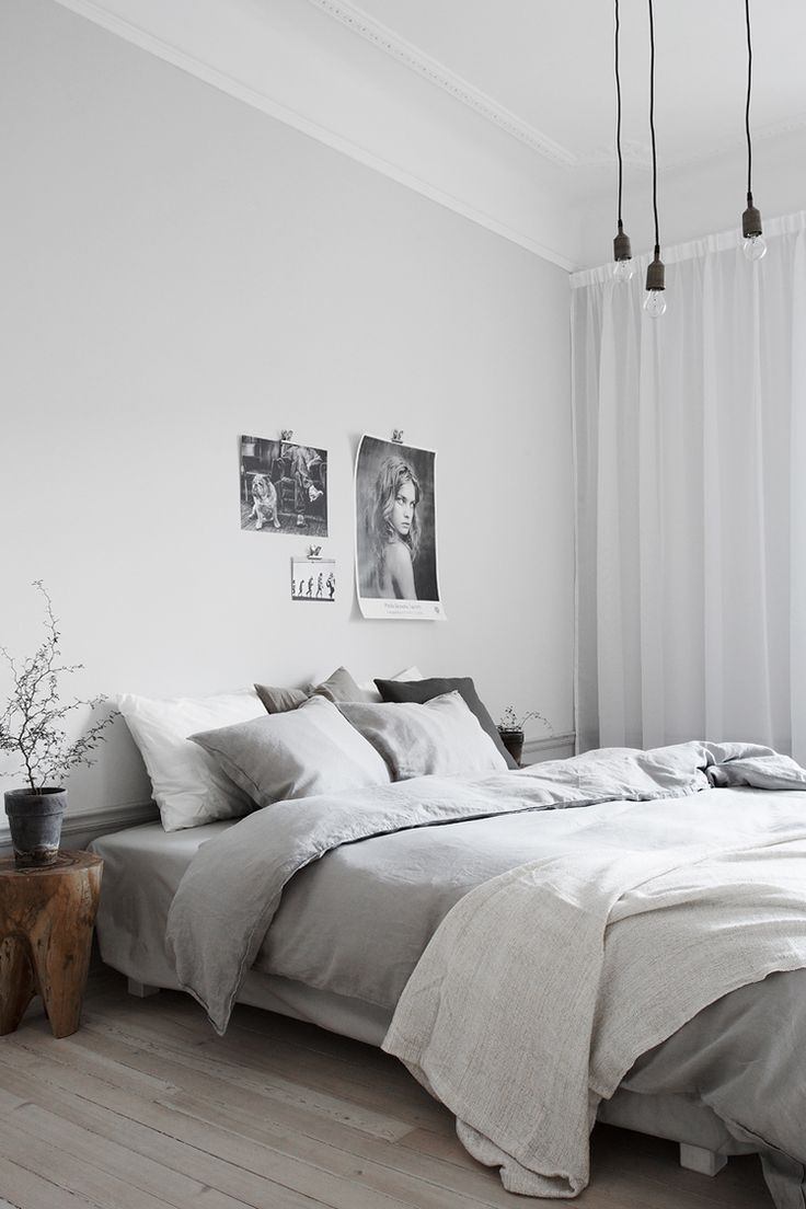 Retro bedrooms modern minimalist and white bedside for Bedroom inspiration grey walls
