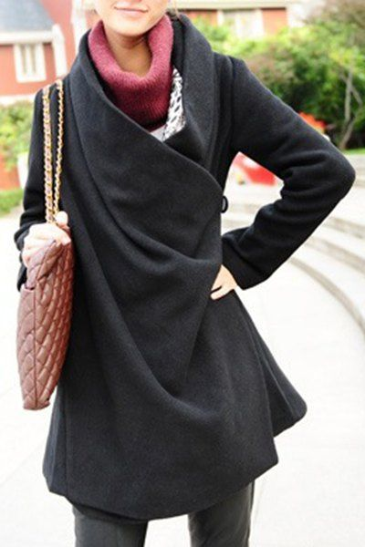 Charming Turn-Down Collar Black Long Sleeve Coat For I must figure out how to make this one!