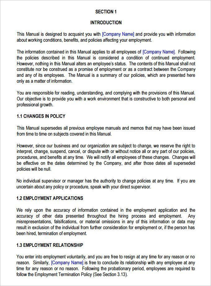 Free Employees Handbook Template The Best 13 Employee Handbook Templates Of 31 Perfec Employee Handbook Template Employee Handbook Job Application Cover Letter