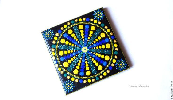 Декоративная плитка-панно-ключница - желтый синий зеленый, ключница панно, декоративная плитка