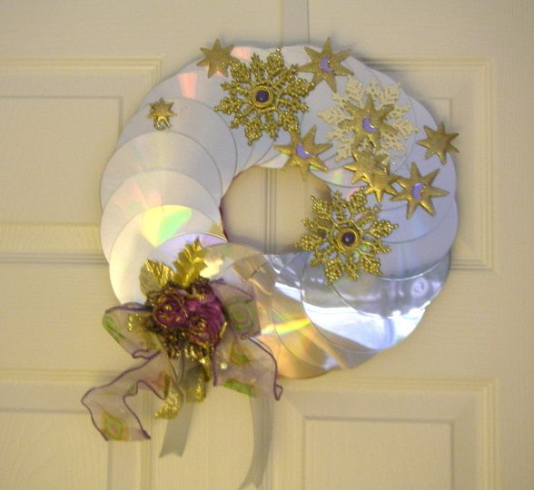CD Christmas Wreaths, Wreaths made out of old CDs and decorated with ribbon and Christmas decorations.  , Holidays Design