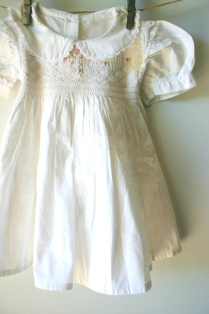 Vintage White Cotton Girls Smocked Dress.