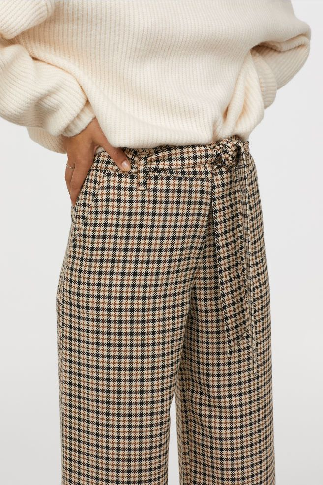 Checked paper bag trousers