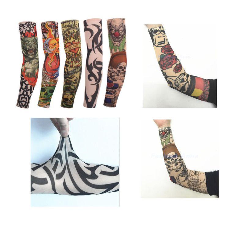 10pcs Stretchy Temporary Tattoo Sleeves Bikesmiles Style Sleeve Cosplay Tatoo | eBay