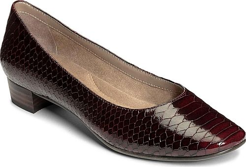"""Aerosoles Women's Shoes in Wine Color. This sleek classic pump delivers all-day comfort in a smart-looking design. Suede leather snake-print leather fabric or velvet upper. Cushioned memory foam footbed. Diamond-flex dress sole. 1"""" heel height"""