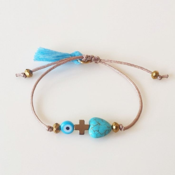 Blue Evil Eye Bracelet, Heart bracelet, Hematite Cross bracelet, Ethnic Girls Bracelet, Party Gifts, Worldwide Shipping by GlowHandmade on Etsy