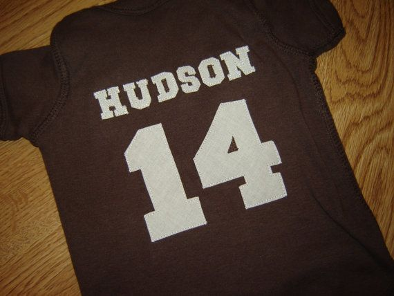 Custom PERSONALIZED Brown Football Onesie - White or Pink Option -  Fall - Sports on Etsy, $24.00