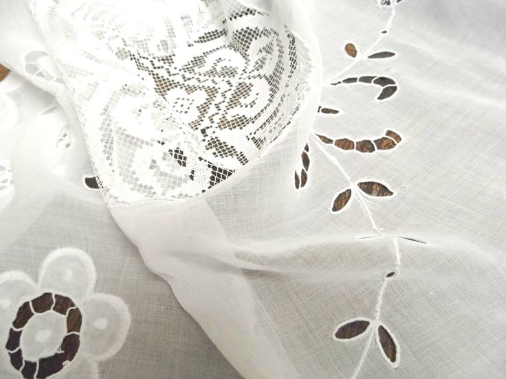 Vintage Embroidered Tablerunner Cutwork White Lace Needlework Crochet Doily Table Linen Wedding Cotton Tablecloth Decor Floral Richelieu by WoodHistory on Etsy