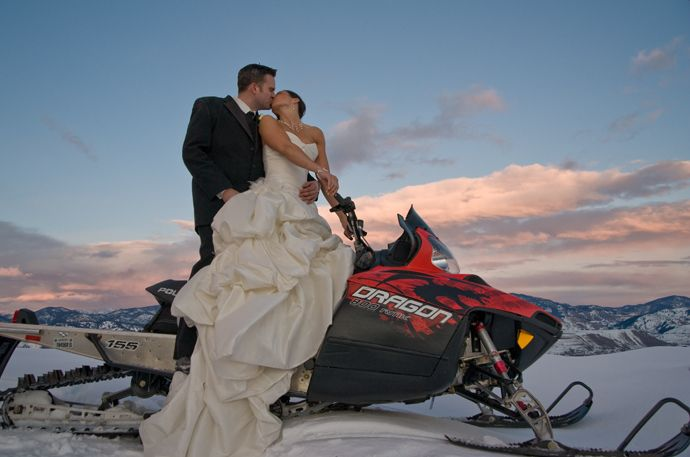 Snowmobile wedding (not in Sun Valley but could be!)