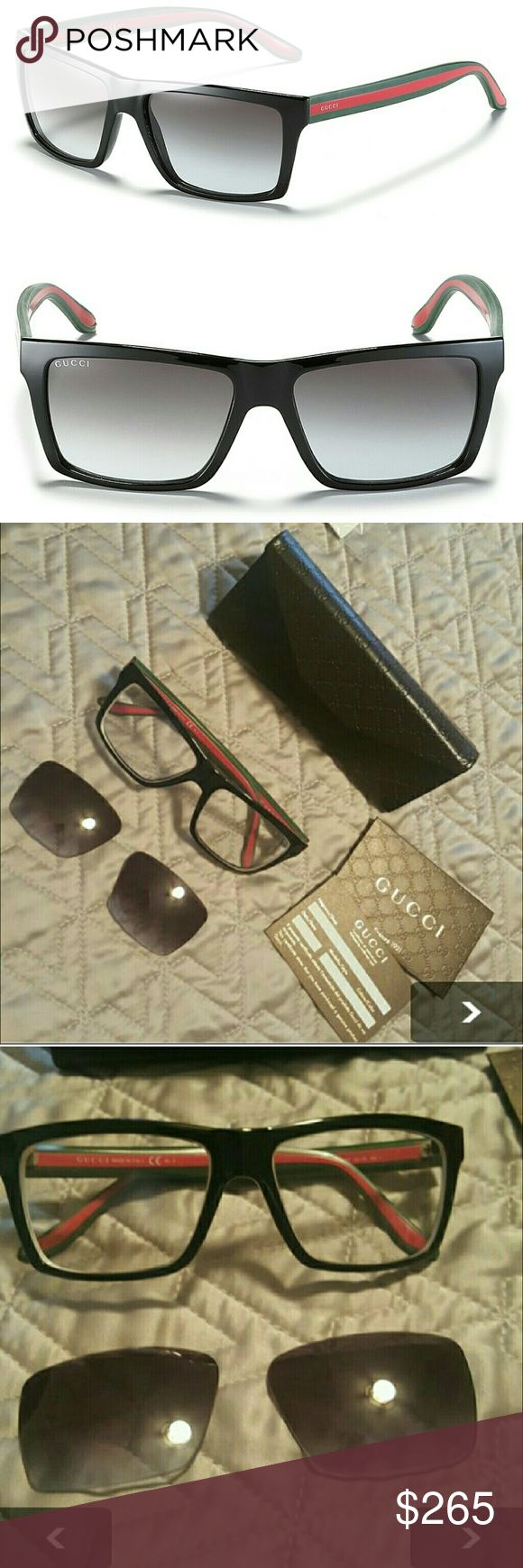 GUCCI SUNGLASSES 📣(READ DESCRIPTION) * I SHIP NEXT DAY * PRICE IS FIRM  * CONDITION 8/10 * AUTHENTIC  * GENTLY WORN (PLEASE BE AWARE THAT THESE ARE USED) * WILL HAVE PRESCRIPTION LENSES TAKEN OUT. * NO MODELING  COMES WITH: * CASE  * CLOTH  * AUTHENTICATION CARDS (EVERYTHING SHOWN IN PICTURE) Gucci Accessories Sunglasses
