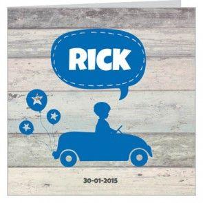 #geboortekaartje met een #jongetje in een blauwe #auto met ballonnen en oud steigerhout. Maak het jouw eigen kaartje door het aan te passen met eigen tekst en bijpassende afbeeldingen uit onze beeldenmap op www.babyboefjes.nl. Direct het kaartje bewerken: http://www.babyboefjes.nl/geboortekaartje-01-1-0357f.html