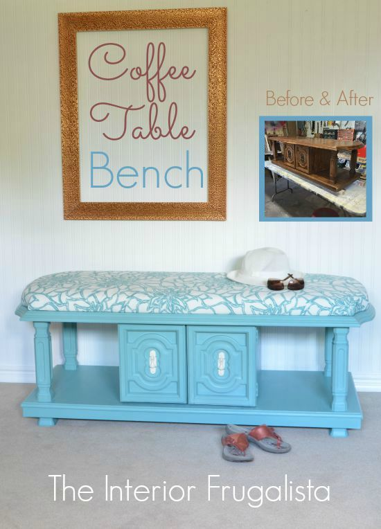 Taking a dated 70's coffee table with lots of fabulous details is easy to turn into an upholstered bench with chalk paint and a small amount of fabric.