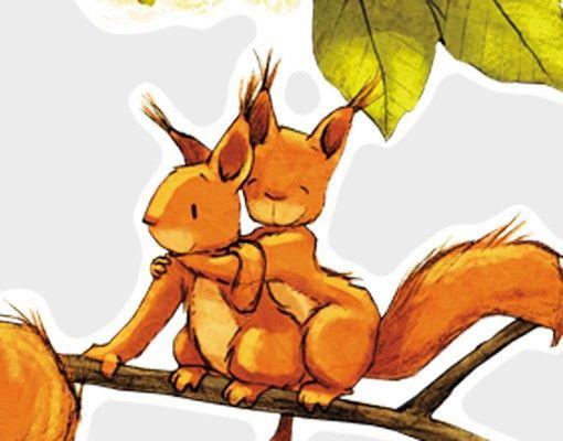 Wandtattoo Wald Babyzimmer No.663 Einhörnchen jubeln 131x50cm