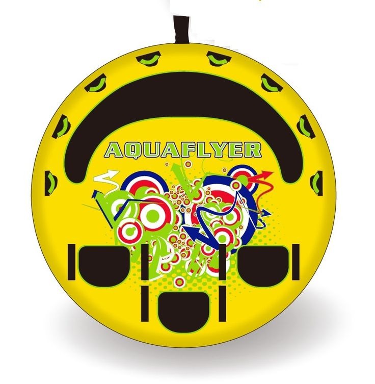 Aquaflyer is a lie on top towable, created to give you fast and safe rides.  It has an extra strong towing point and it is suitable for up to 4 persons lying in the front or 3 persons on theie knees on the back  It has a heavy-duty double layer nylon cover and it is light, goes steady on waves.  It slides fast because of it's PVC bottom  We are sure that this towable will give you extreme and safe rides