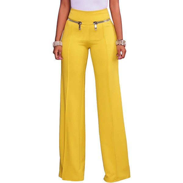 Yellow Gold Zipper Detail High Waist Palazzo Pants (€25) ❤ liked on Polyvore featuring pants, high waisted wide leg pants, print pants, zipper pants, high waisted palazzo pants and high-waisted wide leg pants