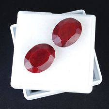 101 CTS/2 PCS MATCHED PAIR EXCLUSIVE RARE HUGE PIGEON BLOOD RED NATURAL RUBIES