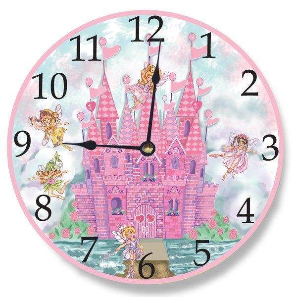 This Fun Clock Features An Art Print Mounted On Wood Of A Pink Castle And Fairies With Story Time Theme I Wall Clocks Childrens