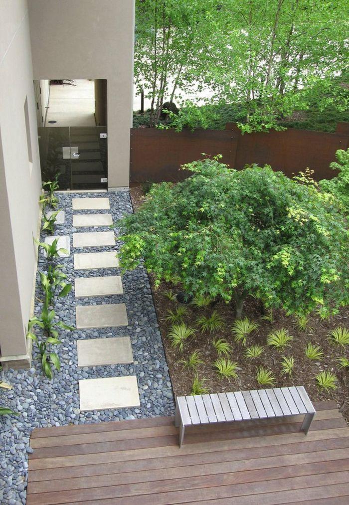 gartengestaltungsideen pflanzen kies sitzbank - Gartengestaltungsideen Mit Kies