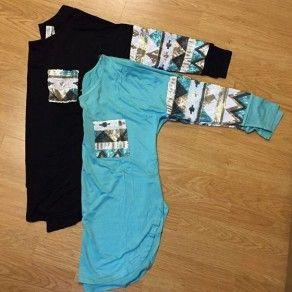 Blue Patchwork Print Pockets Long Sleeve Loose Cotton T-Shirt