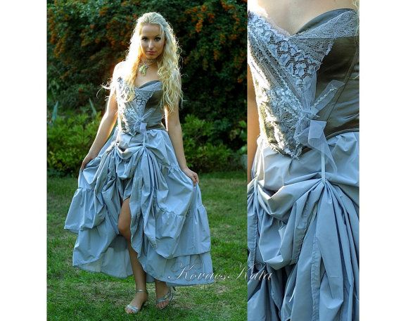 Corseted Grey Alternative Wedding Gown OOAK Gerda by KataKovacs