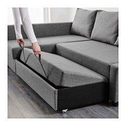 IKEA - FRIHETEN, Convertible d'angle,  , Skiftebo gris foncé, , La méridienne peut se placer à droite ou à gauche du canapé ; déplacez-la à votre convenance.Espace de rangement sous la méridienne. Le couvercle peut rester en position ouverte, ce qui permet de prendre des affaires facilement.Se transforme en lit en un tour de main.A la fois canapé, méridienne et lit pour deux.