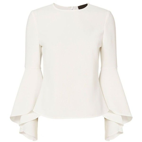 Intermix Women's Cameron Long Sleeve Blouse (345 CAD) ❤ liked on Polyvore featuring tops, blouses, white, long sleeve blouse, flutter sleeve top, long sleeve tops, white top and ruffle sleeve blouse