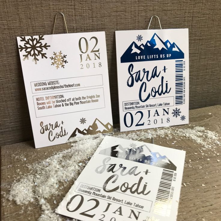Foiled ski lift ticket invitation for birthday party or wedding save the date. Winter party theme invitation. Skiing theme event invitation.