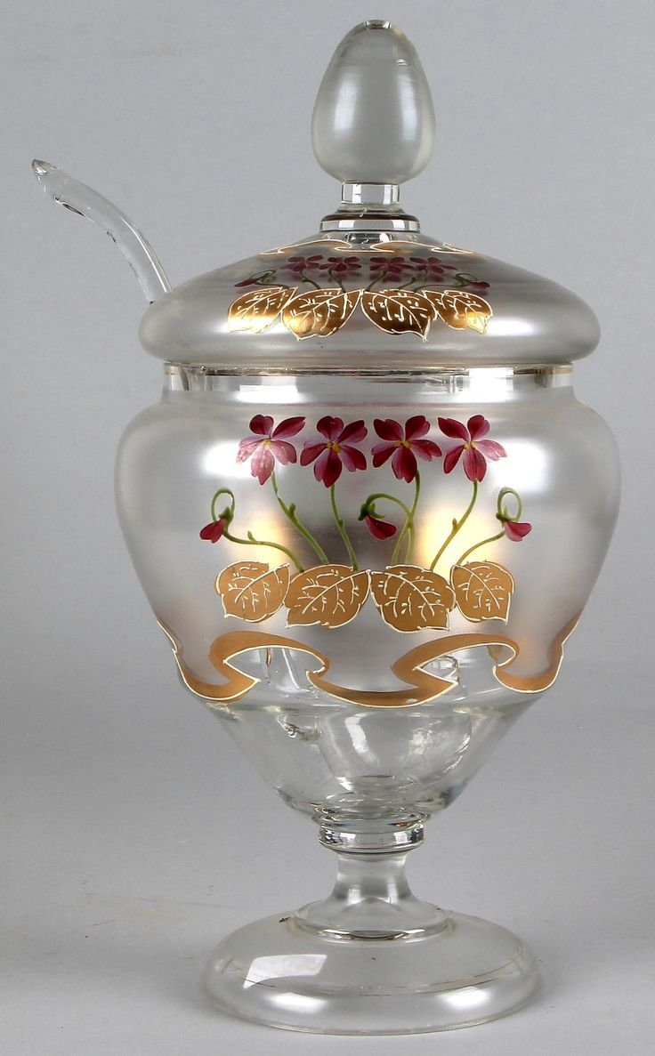 Glazen Jugendstil bowlpot Antieke glazen boerenjongens bowlpot+sleef met floraal en gouddecor omstreeks 1900,
