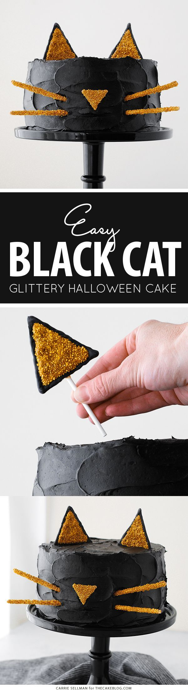 Celebrate Halloween with this purrfect Black Cat Cake with a simple silhouette face and gold glitter cat ears! Project by Carrie Sellman for http://TheCakeBlog.com.
