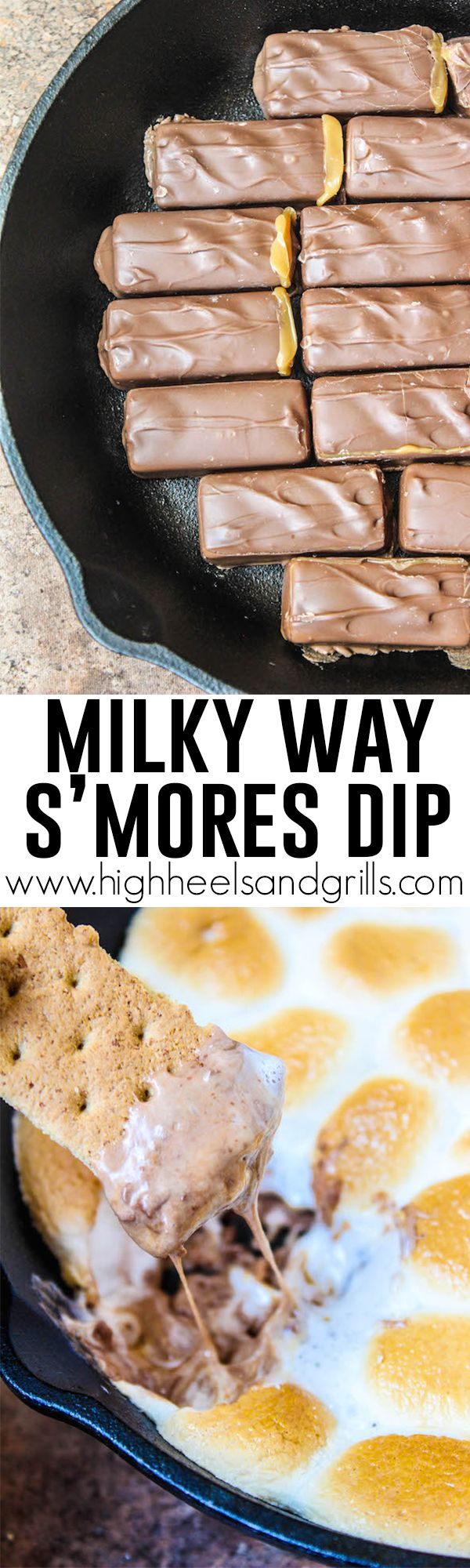 Milky Way S'mores Dip - If you've never eaten s'mores dip, you have to start with this one! Only 2 ingredients required and tastes delicious!