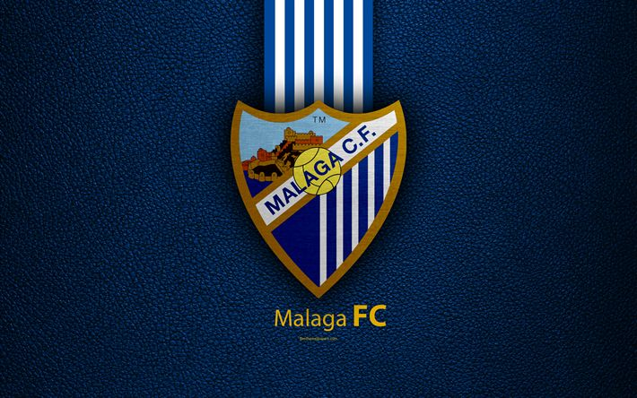 Download wallpapers Malaga FC, 4K, Spanish football club, La Liga, logo, emblem, leather texture, Malaga, Spain, football