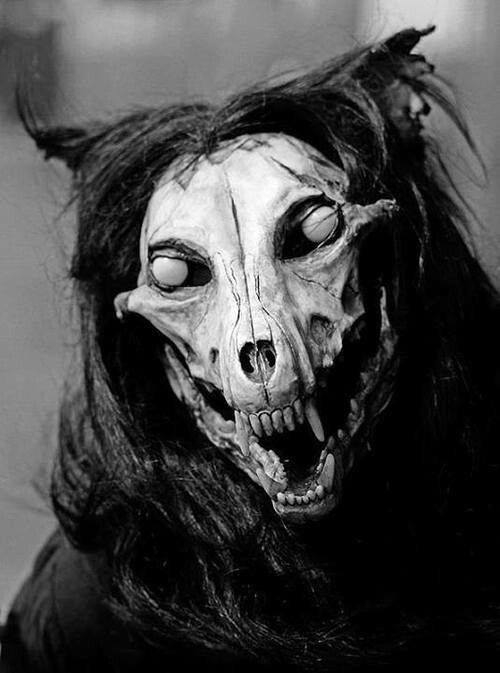 """""""This one is titled Genganger, or Breynz, and was originally just commissioned by a private party as a simple mask. But so far from simple, this original sculpture was cast in resin and fitted with horse hair, faux fur, and opaque, glass eyes to create the perfect """"zombie werewolf."""" ."""""""