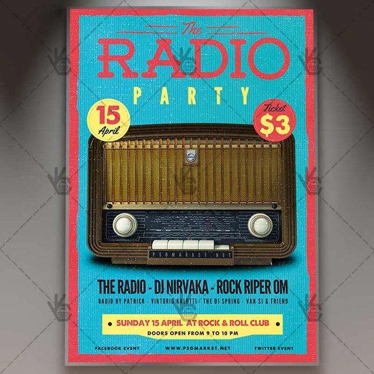 Radio Party - Premium Flyer PSD Template.  #80s #90s #beatbox #boombox #club #concert #fest #festivalf #folk #indie #music #old #party #popart #radio #retro #vintage  DOWNLOAD PSD TEMPLATE HERE: https://www.psdmarket.net/shop/radio-party-premium-flyer-psd-template/  MORE FREE AND PREMIUM PSD TEMPLATES: https://www.psdmarket.net/shop/