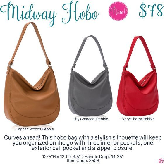Midway Hobo by Thirty-One. Fall/Winter 2016. Click to order. Join my VIP Facebook Page at https://www.facebook.com/groups/erica31/