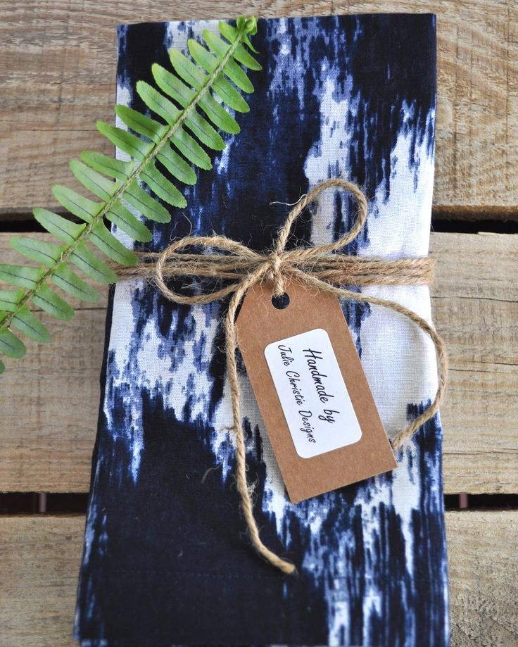 Navy and White Patch Print Set of 6 Handmade Cotton Linen Napkins with Mitred Corners. Visit my Etsy store for sales.